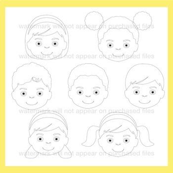 Multicultural Children Clip Art Set