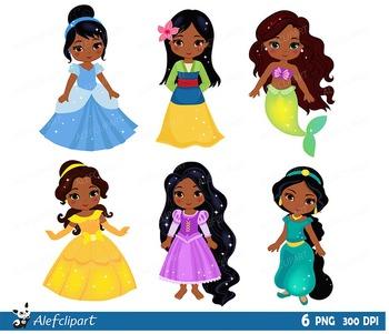 Multicultural Classic Princess, Princess clip art, Princess African American