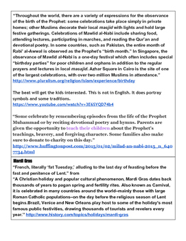 Multicultural December Holidays Plus Mardi Gras for elementary