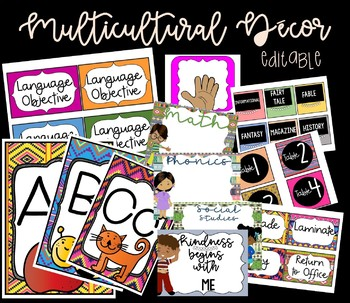 Multicultural Decor - editable labels