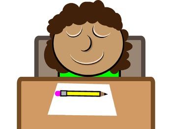 MINDFULNESS POSTER CLIPart Student at DESK with Yellow Pencil (mb stead)