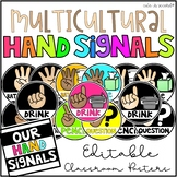 Multicultural Hand Signal Editable Classroom Signs