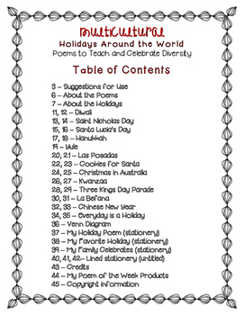 Multicultural Holidays Around the World Poems to Teach and Celebrate Diversity