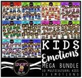 Multicultural Kids Emotions Clip Art Mega Bundle {Educlips Clipart}