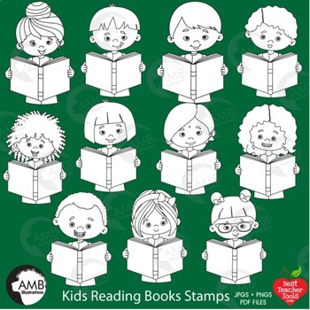 Multicultural Kids Reading Stamps Clipart, Classroom Digital Stamps, AMB-2307