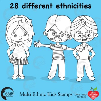 Multicultural Kids Stamps Clipart, Black Line Clipart, AMB-2318
