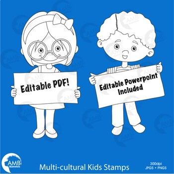 Multicultural Kids Stamps Clipart with Signs, Classroom Bulletin Board, AMB-2303