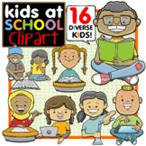 Multicultural Kids at School Clip Art