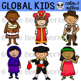 Multicultural Kids from Around the World Clip Art - Set 3