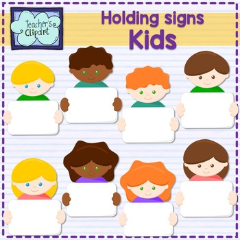 Multicultural Kids holding signs Clipart