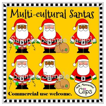Multicultural Santas - Freebie in preview!