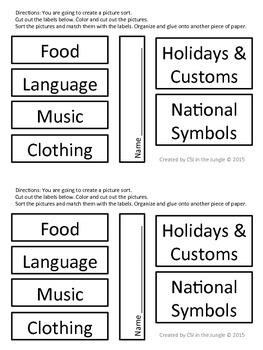 Multicultural Sorting Activity