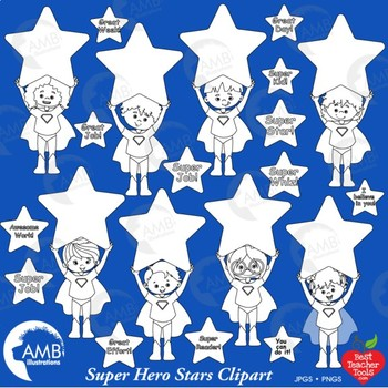 Multicultural Superhero Kids Digital Stamp Clipart with Stars, AMB-2319