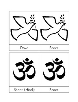 Multicultural Symbols of Peace - Three Part Cards