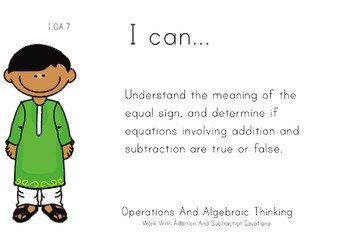 Multicultural Theme 1st grade math Common Core Posters fir