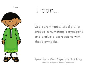 Multicultural Theme 5th grade math Common Core Posters Fifth Grade Standards