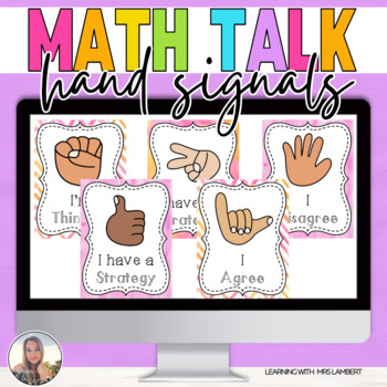Multicultural Watercolor MATH TALK Hand Signal Posters