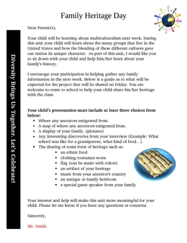 Multicultural Week Family Heritage Day Letter to Parents and Ideas