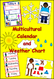 Multicultural calendar and weather chart- diversity, children, display