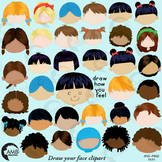 Multicultural faces, Feelings Clipart in color, draw how you feel, AMB-2123