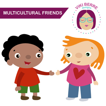 Multicultural friends, kids, children, clip art, CU OK