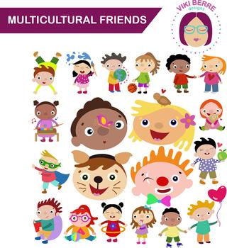 Multicultural friends packet, kids, children, clip art, CU OK
