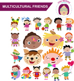 Multicultural friends packet, kids, children, clip art, CU OK