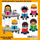 Multiculturalism Superhero Book Club Clip Art