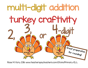 Multidigit Addition Turkey Craftivity