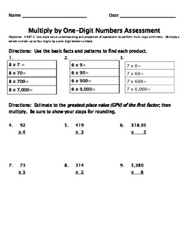 Multidigit Assessment by One and Two Digit Numbers