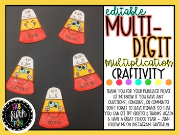 Multidigit Multiplication Candy Corn Craft (EDITABLE)