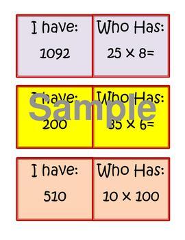 "Multidigit Multiplication ""I Have, Who Has"" Cards"