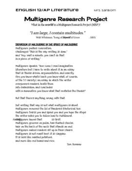 Multigenre Research Project Handout with Rubric