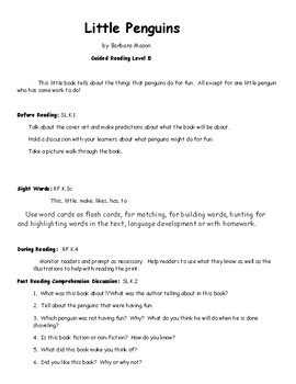Multilevel Guided Reading Book:  Little Penguins: Levels A and B w/ PLANS