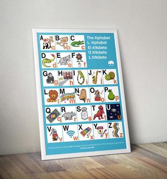 Multilingual Alphabet - ABC Poster for Bilingual Kids (USA Paper Sizes)