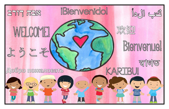 Multilingual Classroom Welcome Sign - Pink