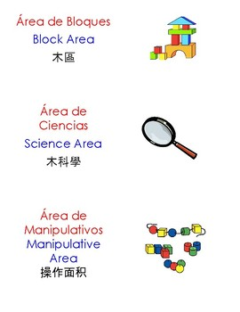 Multilingual (English, Chinese, Spanish) Classroom Area Labels