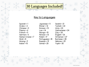 Multilingual Happy New Year Posters for Classroom Decor: Snowflake Theme