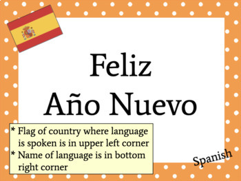 Multilingual Happy New Year Posters for Classroom Decor: Polka Dot Theme