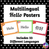 Multilingual Hello Posters for Classroom Decor: Polka Dot Theme