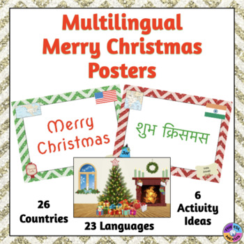 Multilingual Merry Christmas Posters No Prep