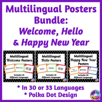 BUNDLE of Multilingual Posters for Classroom Decor: Polka Dot Theme