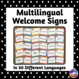 Multilingual Welcome Posters For Classroom Decor: Polka Dot Theme