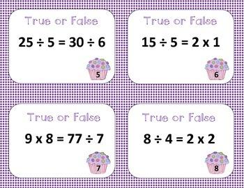 Multilplication and Division True or False Task Cards