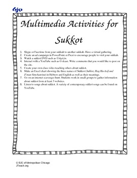 Multimedia Activties for Sukkot