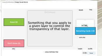Multimedia Vocabulary Terms with Kahoot, Study Stack Notecards and Test with Key