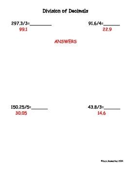 Multiplcation & Division Decimal Worksheets