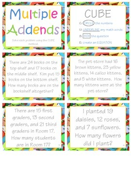 Multiple Addends *CCSS Word Problems* (1.OA.A2)