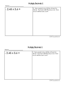 Multiple Assessment forms for Multiplying Decimals - 6.NS.3