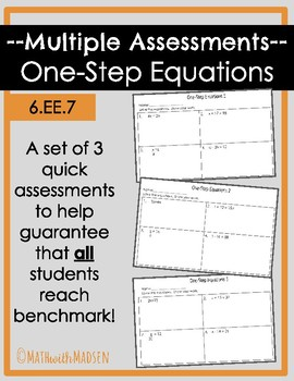 Multiple Assessment forms for One-Step Equations - 6.EE.7